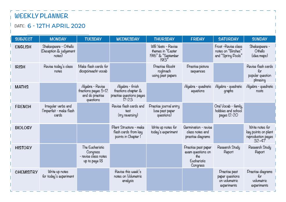 Weekly Planner Sample